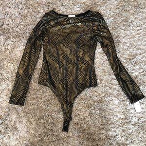 Tops - Gold black long sleeve bodysuit